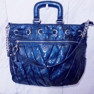 #748 Kathy Van Zeeland Teal Blue Satchel Bag Tote
